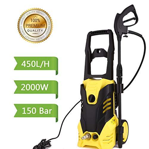 lichire 2000W Limpiadoras a presión con 5m Manguera,150Bars, 450H/L Hidrolimpiadora para Coche, Jardín, Herramientas