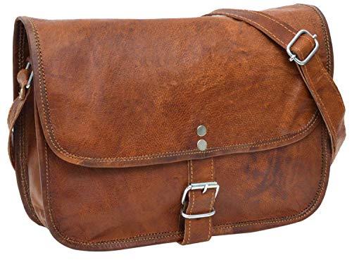 Gusti Leder nature ''Andy 9,7'' borsa di cuoio donna ragazza borsetta borsa da passeggio a mano vera pelle party disco festival marrone H1