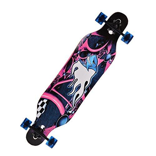 mymotto Longboard Anfänger Skateboard Komplettboard mit ABEC-9 High Speed Kugellager Drop Down Street, 104 x 23 x 10cm, Tier - Freien Board Buchstaben Im