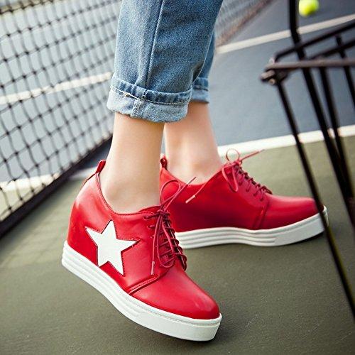 COOLCEPT Femmes Mode Lacets Court Chaussures Bout Ferme Augmentation Chaussures Rouge