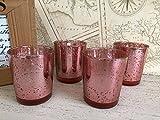 Set von 4 Mercury Glas Teelicht Votiv Kerzenhalter Party / Hochzeit Tischdekoration - Rose Gold