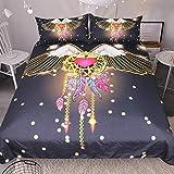 Jior Home Art Bettwäsche Set Bettbezug Und 2 Kopfkissenbezug Atmungsaktiv,Anti Milben,Geeignet Für Allergische Haut,Ideal Für Kinder Jugendliche Schlafzimmer Engel Traumfänger,155x220cm