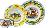 Villeroy & Boch Chewy's Treasure Hunt Tafelservice für Kinder, 3-teilig, Premium Porzellan, Weiß/Bunt