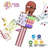 Wireless Karaoke Microphone, ShinePick 4 in 1 Bluetooth Dancing LED Lights Handheld Portable Speaker Karaoke Machine, Home KTV Player with Record Function, Compatible with Android & iOS Devices