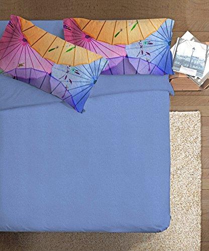 Ipersan Oriental Parure copripiumino fotografico Fine-Art Oriental matrimoniale, Cotone, Azzurro/Rosa/Giallo, Matrimoniale