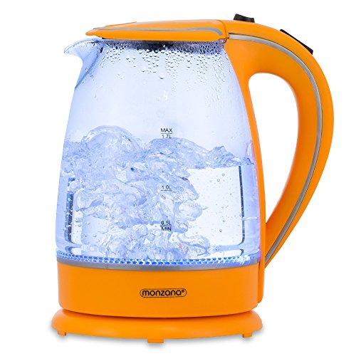 monzana Wasserkocher Teekessel Teekocher • 1,7 L • orange • 2200 Watt • LED Innenbeleuchtung • 360° kabellos • BPA frei