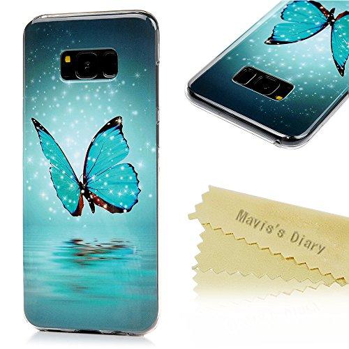 Mavis's Diary Case für Samsung S8 + (S8 plus) TPU Case Schutzhülle Noctilucent Blauer Schmetterling Bunte Aufdruck Muster Bumper Handycover Handyhülle