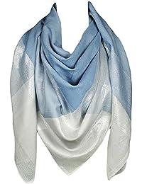 Mevina Damen Schal XXL Karo Glitzer Metallic groß Sommer Tuch Halstuch Premium Qualität Blau T2475