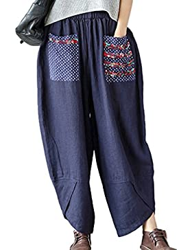 NiSeng Mujer Estilo Étnico Remiendo Pantalones Anchos Casual Lino Pantalon Casual Harem Pantalones