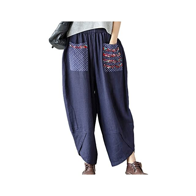 NiSeng Femmes Pantalon Harem Sarouel Style Ethnique Patchwork Pantalon À  Jambe Large Lin Bloomers Pantalon ... 3891e7ec9fb7