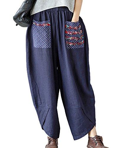 NiSeng Women National Winds Splice Harem Pants Linen Baggy Pants Palazzo Pants Wide Leg Pants