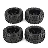 4Pcs 150mm Cerchione e pneumatici per 1/8 Monster Truck Racing Accessori auto RC - Nero