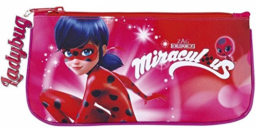 Lady Bug Miraculous Ladybug Estuche portatodo Plano, Color Rosa, 23 cm (SAFTA 811712028)