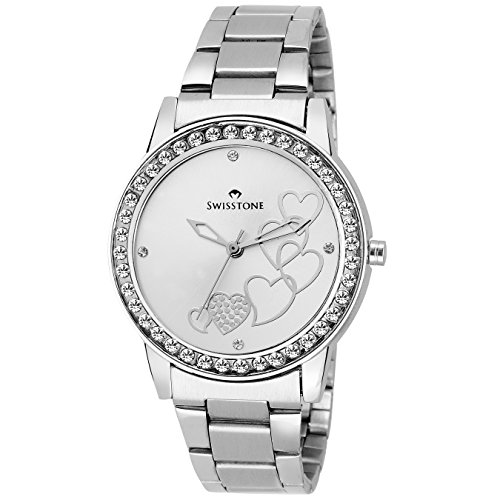 Swisstone Analogue Silver Dial Women'S And Girl'S Watch-Hart236-Slv-Ch