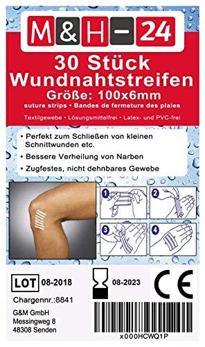 Klammerpflaster Set/Wundnahtstreifen-Strips Nahtmaterial Wundverschluss-Streifen Steril 6 x 100 mm, 30 Stück