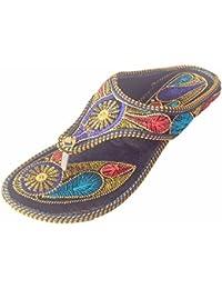 kalra Creations Mujer Tradicional Funda de piel sintética con bordado étnico Zapatos, color Multicolor, talla 36,5 EU M