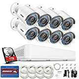 ANNKE Kit de Seguridad 8CH 960P PoE NVR simplificado y 8 Cámara IP de Seguridad IP67 Impermeable, visión Nocturna de 100 pies, personalización de detección de Movimiento con 1TB HDD