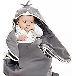 Wallaboo - Couverture Enveloppante Animal - Multi-Usages - pour Coques Bébé / Sièges Auto / pour Landaus / Poussettes ou Lits Bébé - 90 cm x 70 cm - Cotton - gris
