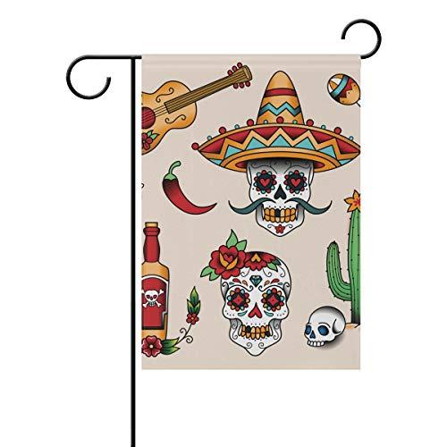 SUNOP Polyester-Gartenflagge mexikanische Symbole, Banner 30,5 x 45,7 cm, für den Außenbereich, Haus, Garten, Blumentopf, Dekoration, Partyzubehör (Mexikanische Blumentöpfe)