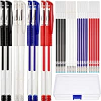 8 Pieces Heat Erasable Pens Fabric Marking Pens with 24 Pieces Replaceable Pen Refills for Fabric Quilting Sewing Dressmaking, 4 Colors