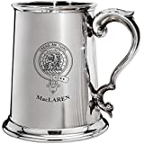 MacLaren Family Crest Polished Pewter 1 Pint Tankard with Scroll handle