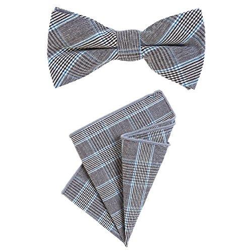 DonDon Herren Fliege 12 x 6 cm mit farblich passendem Einstecktuch 23 x 23 cm beides aus Baumwolle im Tweed Look grau-blau kariert