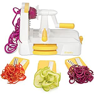 Zestkit 3 in 1 Tagliaverdure,Spiralizzatore Tagliente,Affettatrice Pasta Spaghetti con Ventosa,Funzione Stablità,Lavabile in Lavastoviglie,Incluso Spazzolino Pulizia,Giallo/Bianco