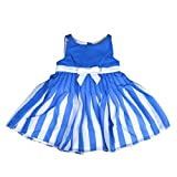 Big Tree Sleeveless Blue Dress with Whit...