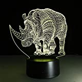 ypyrhh LED Night Light Ottico,Luce di opuscolo di Rinoceronte 3D,Tocco 7 Lampada da Tavolo a LED Cambia Colore,Decor per i Bambini Compleanno Regalo di Natale