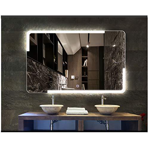 Bathroom mirror Snow Yang Von hinten beleuchtetes an der Wand befestigtes Badezimmerspiegel/beleuchtetes Make-up-Eitelkeits-Badezimmer Bluetooth versilbert Spiegel mit Touch-Taste -