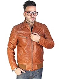 Bareskin men's tan leather bomber jacket