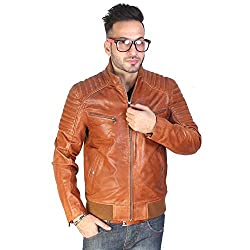 Bareskin Mens tan Leather Bomber Jacket(VNGJ_7821_XL_Tan_Extra Large)