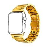 Bandmax Watch Band 18K Vergoldetes Edelstahl Ersatzarmband mit Faltschließe Wrist Armband...