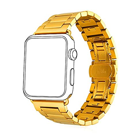 Bandmax Classic Watch Strap with Protective Case Gold Plated Stainless Steel Replacement Wristband for iWatch Series 2/1 All Versions (42MM