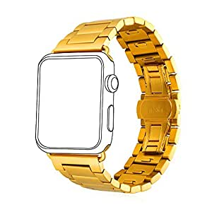 Bandmax Watch Band 18K Vergoldetes Edelstahl Ersatzarmband mit Faltschließe Wrist Armband Uhrenarmband für Apple Watch 42MM Series 1/Series 2(Gold)
