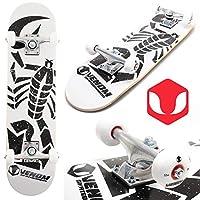 "Venom Skateboards Scorpion Complete Kids Beginner Junior Mini Double Kick Tail Skateboard - 7.25"" - White"