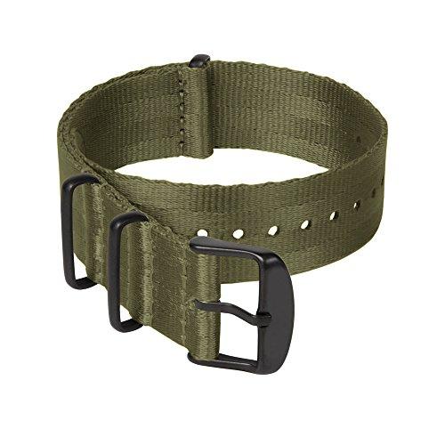 Archer Watch Straps | Correas NATO de Nylon Cinturón de Seguridad | Correa de Reloj Diseño Militar | Verde Oliva/Piezas Metálicas en Negro, 18mm