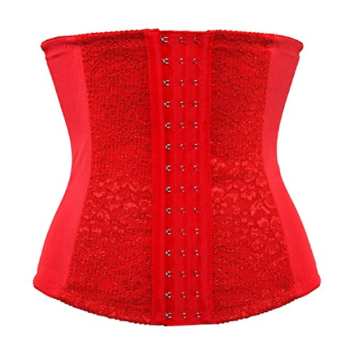 Damen Korsage Frauen Fitness Taille Cincher Korsett Shaper Bauchbänder Bustiers, Red, L/Taille:75-80cm (Shaper Bustier)
