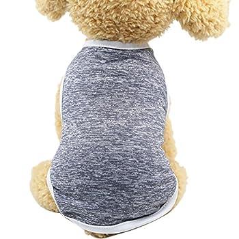 Chiens Textiles et Accessoires,Gilet De Chien Classique T-Shirt VêTements Chiot D'éTé VêTements sans Manches VêTements,Chiens Gilets de Sauvetage (XL, Gris)