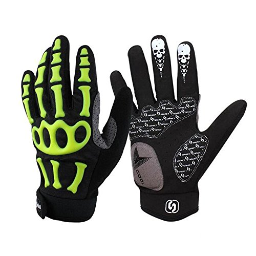 ovest guanti da ciclismo da uomo teschio Full Finger Mountain Bike Guanti antivento antiscivolo, motivo scheletro, donna Uomo, Green Black, L - Equivalent to UK Size M(3.15-3.5in)