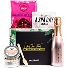 'Prosecco in the Bath' Gift Set for Her - Rose Salt Scrub, Rosé Prosecco 20cl & Pomegranate Heart Sweets - Luxe Vegan Birthday Gift