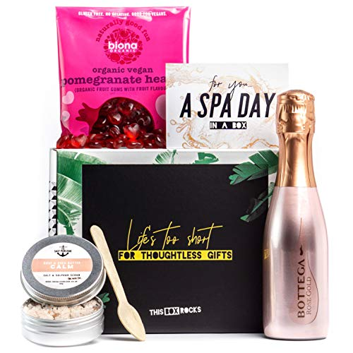 'Spa Day in a Box' Gift Set for Her - Rose Sparkling Wine 20cl, Rose Salt Scrub & Pomegranate Heart Sweets - Luxe Vegan Birthday Gift