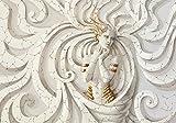 VLIESFOTOTAPETE Fototapete Tapete Wandbild Vlies | Welt-der-Träume| Medusa | VEXXL (312cm. x 219cm.) | Photo Wallpaper Mural 10211VEXXL-AW | Beige Gold Skulptur Kunst Medusa