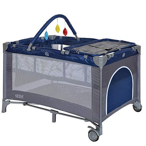Lit de Voyage Parapluie avec Matelas 2 Niveaux Léger Pliant Table Langer ; Bleu