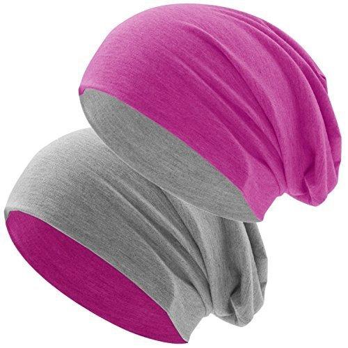 BiColor Jersey Slouch Long Beanie Mütze, leicht und weich, Reversible Beanie für Damen und Herren (zwei-farbig | Bicolor pink-hellgrau)