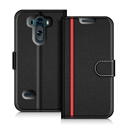 coodio LG G3 Hülle Leder Lederhülle Ledertasche Wallet Handyhülle Tasche Schutzhülle mit Magnetverschluss/Kartenfächer für LG G3, Schwarz/Rot