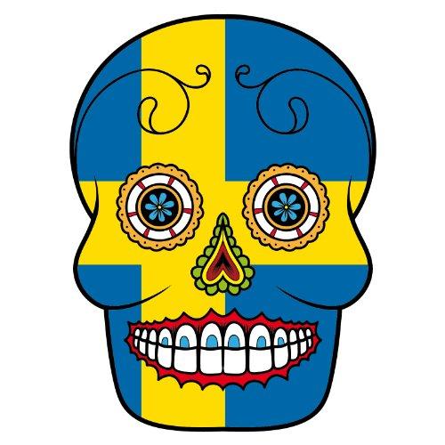 T-Shirt - Schweden - Sugar Skull - Fahne - Herren - unisex Weiß