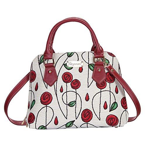 Signare Tapisserie femmes Poignée supérieure Sac à main/sac à bandoulière/sac à bandoulière style Rennie Mackintosh Rouge roses (Conv-rmsp)