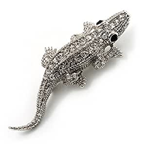 Petite broche crocodile cristal (ton argent)