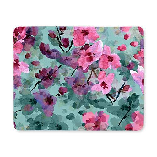 Luancrop Rosa Blüten der Wilden Kirsche Rechteck rutschfeste Gummi komfortable Computer-Maus-Pad Gaming Mousepad Matte für Office Home Frau Mann Mitarbeiter Chef Arbeit -